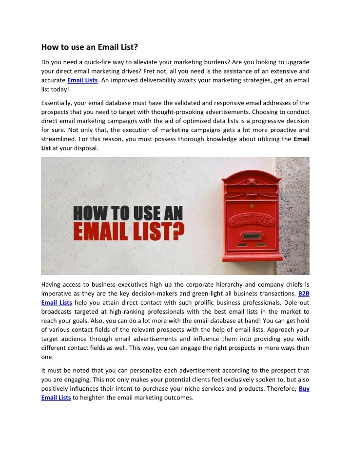 how to use an email list n.