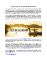 how to generate more business leads across
