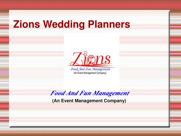 zions wedding planners n.