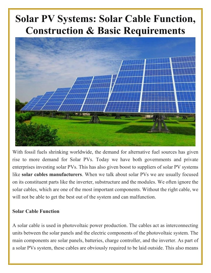 solar pv systems solar cable function n.