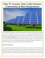 solar pv systems solar cable function