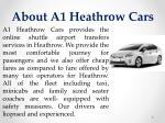 about a1 heathrow cars