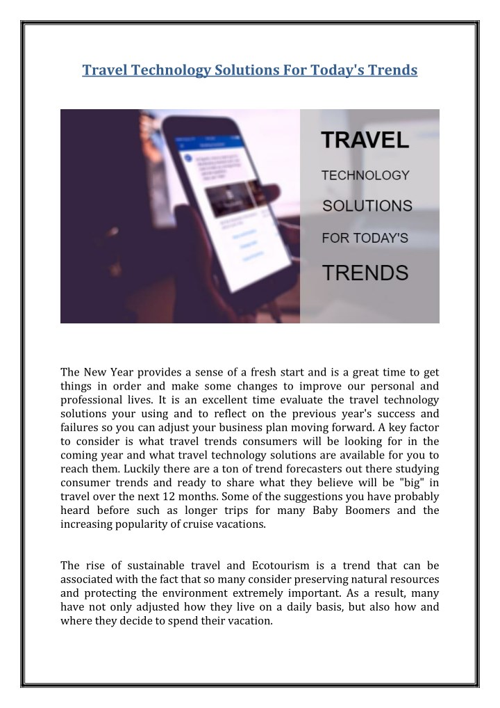 travel technology solutions for today s trends n.