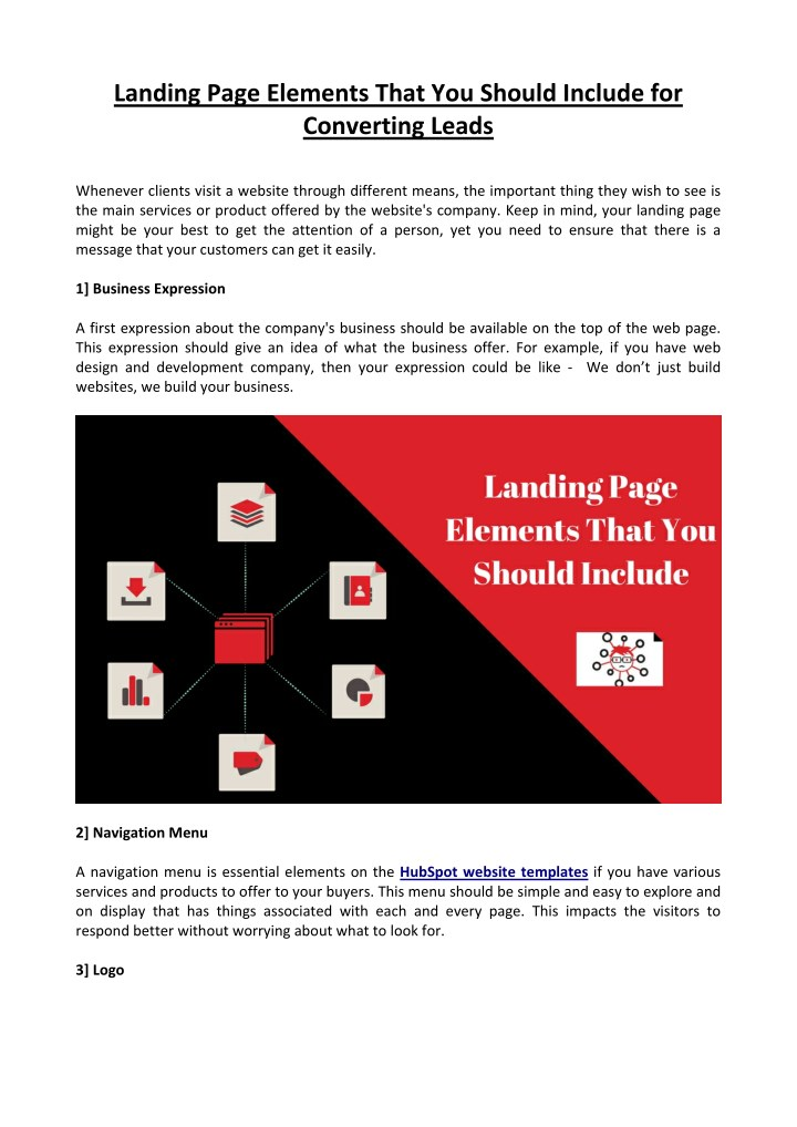 landing page elements that you should include n.