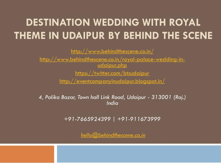 destination wedding with royal theme in udaipur by behind the scene n.