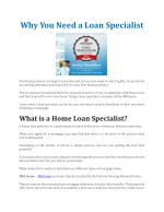 why you need a loan specialist