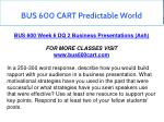 bus 600 cart predictable world 19