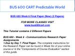 bus 600 cart predictable world 21