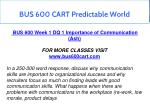 bus 600 cart predictable world 3