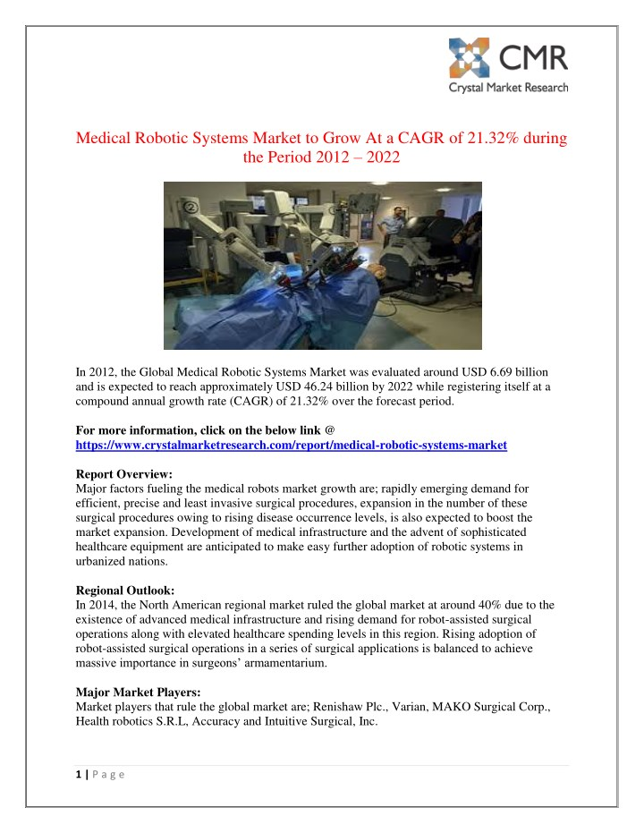 medical robotic systems market to grow at a cagr n.