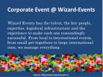 corporate event @ wizard events