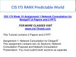 cis 175 rank predictable world 2
