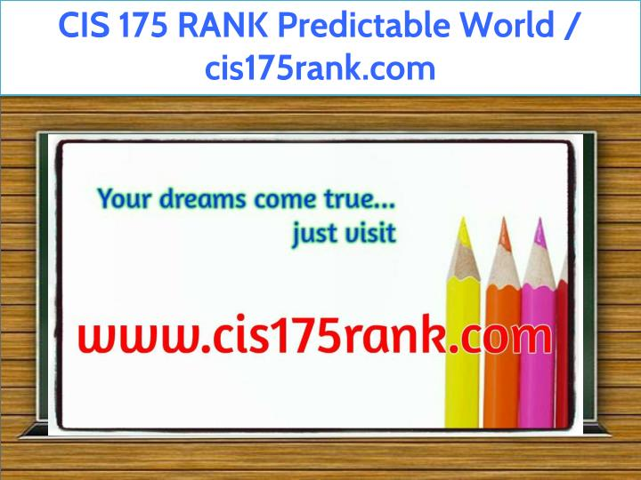 cis 175 rank predictable world cis175rank n.