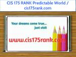 cis 175 rank predictable world cis175rank