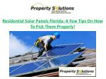 residential solar panels florida a few tips