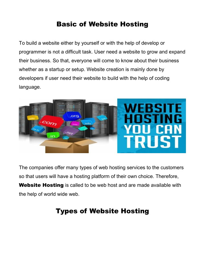basic of website hosting n.