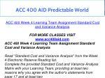 acc 400 aid predictable world 13