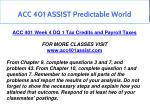 acc 401 assist predictable world 15