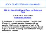acc 401 assist predictable world 16
