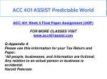 acc 401 assist predictable world 19