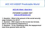 acc 401 assist predictable world 5