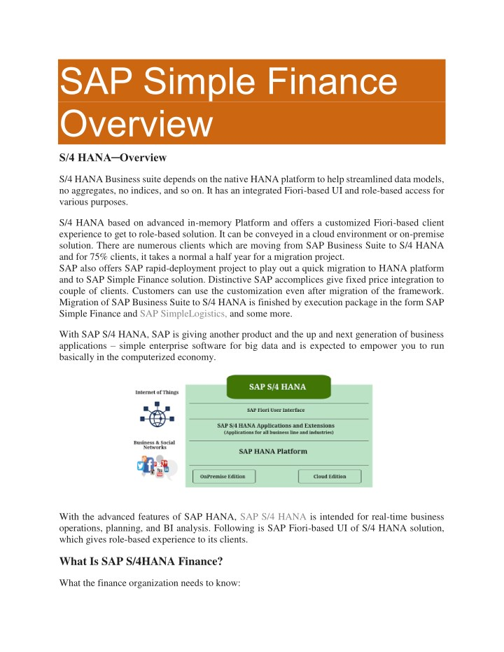 sap simple finance overview s 4 hana overview n.