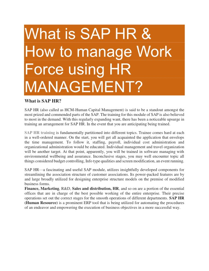 what is sap hr how to manage work force using n.