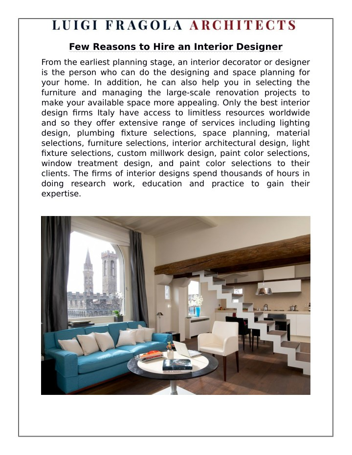 few reasons to hire an interior designer n.