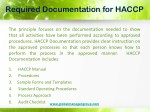 required documentation for haccp