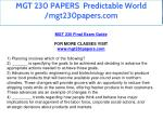 mgt 230 papers predictable world mgt230papers com 2