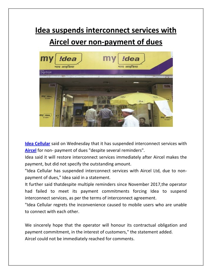 idea suspends interconnect services with aircel n.