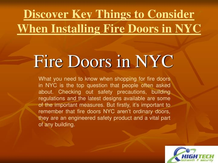 discover key things to consider when installing fire doors in nyc n.