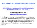acc 543 homework predictable world 3
