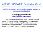 acc 543 homework predictable world