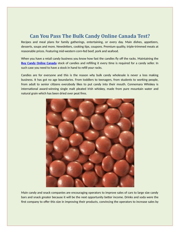 can you pass the bulk candy online canada test n.