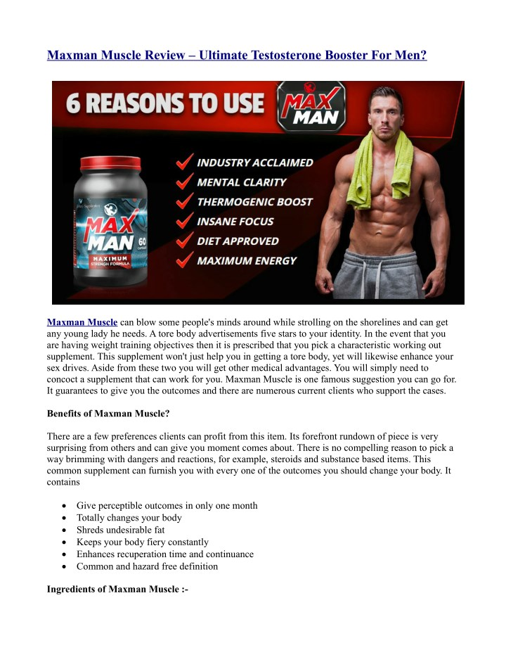 maxman muscle review ultimate testosterone n.