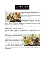 choosing the best caterers for your event is very