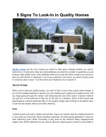 5 signs to look in in quality homes
