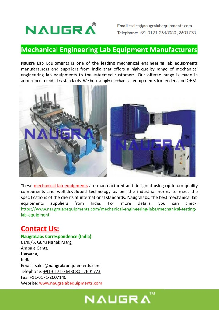 mechanical engineering lab equipment manufacturers n.
