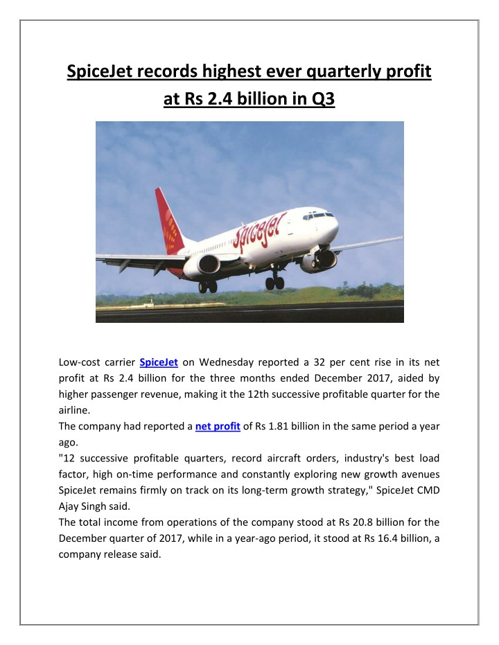 spicejet records highest ever quarterly profit n.