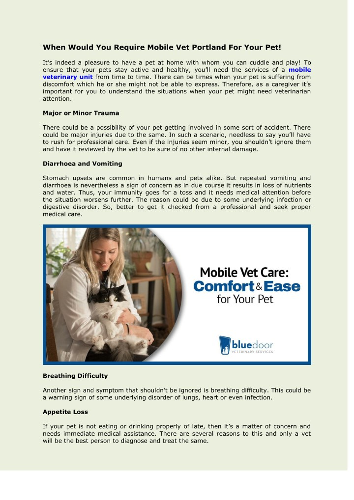 when would you require mobile vet portland n.