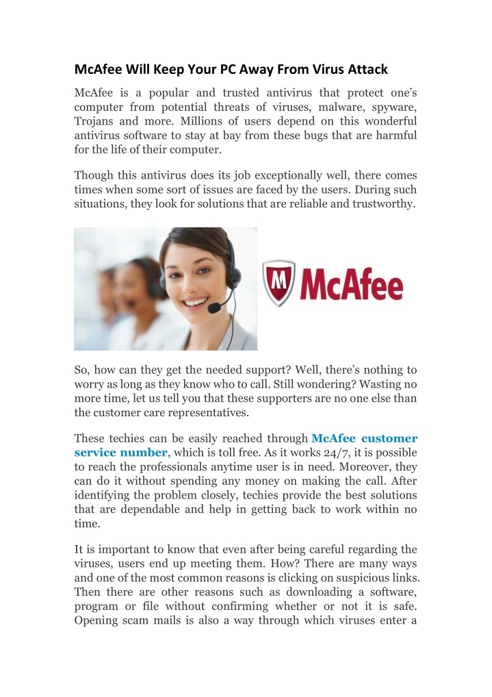 mcafee will keep your pc away from virus attack n.