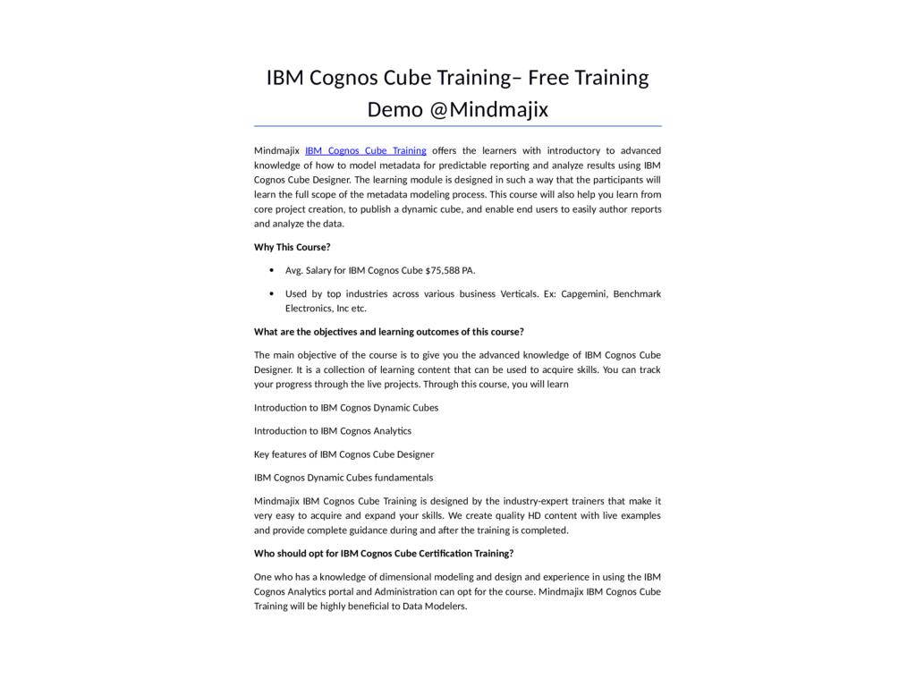 Ppt Ibm Cognos Cube Training Online Certification Course