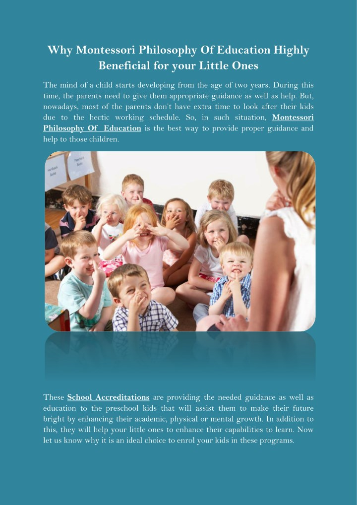 why montessori philosophy of education highly n.