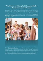 why montessori philosophy of education highly