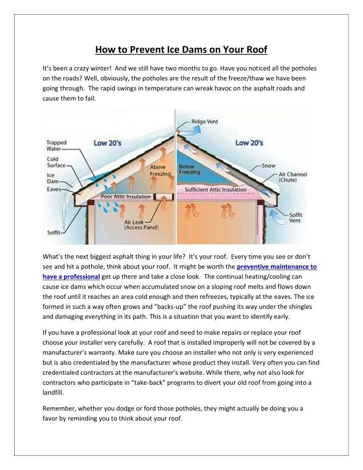 how to prevent ice dams on your roof n.