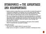 hydroponics the advantages and disadvantages 1