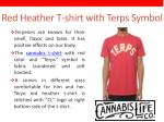 red heather t shirt with terps symbol