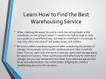 learn how to find the best warehousing service 1