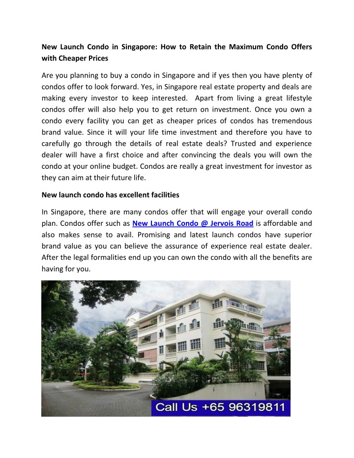new launch condo in singapore how to retain n.